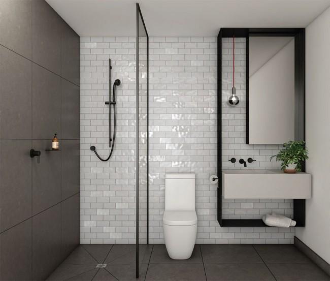 Le minimalisme est toujours le bienvenu dans la décoration intérieure d'une petite salle de bain.