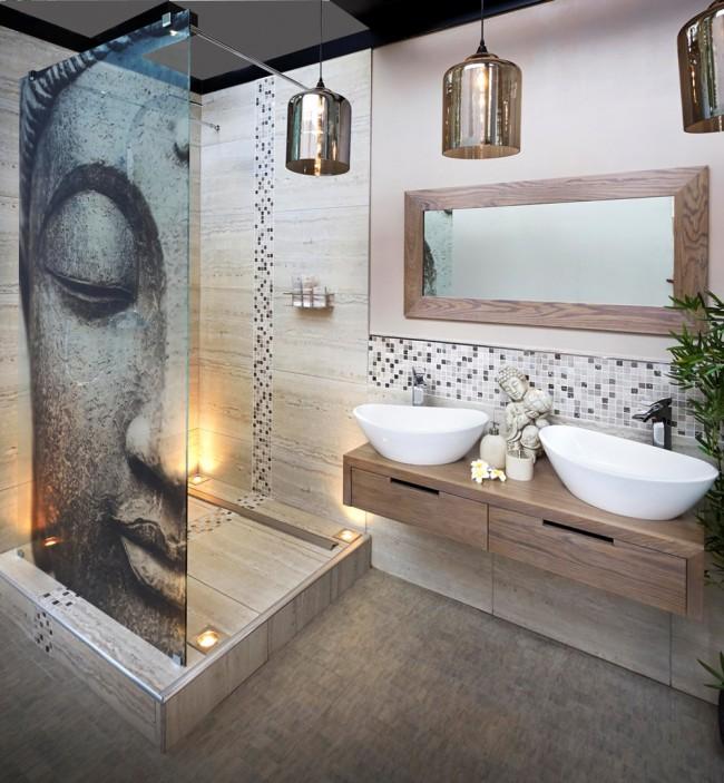À la pointe de la mode pour une salle de bain de toute taille - des couleurs naturelles dans le design