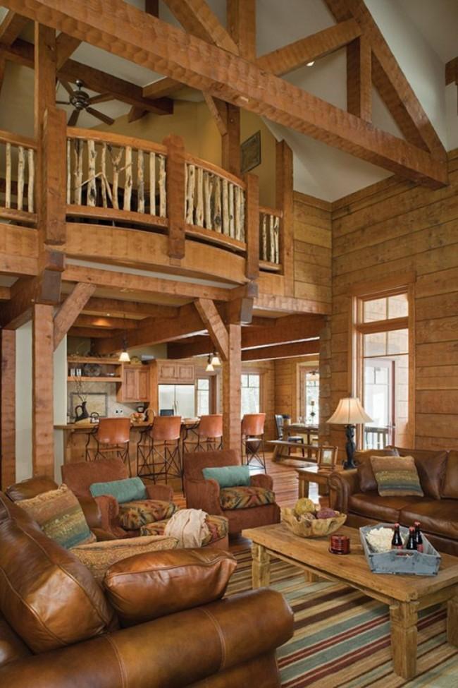 Maisons en bois à partir de bois profilé.  En raison de la haute isolation thermique des murs, une maison faite de poutres profilées à l'intérieur sera plus spacieuse qu'une maison en briques d'exactement la même surface de construction