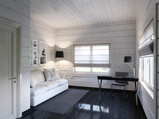 Maisons en bois à partir de bois profilé.  L'intérieur d'une maison faite de poutres en bois est esthétique avec une finition minimale, car le bois est lui-même un matériau décoratif