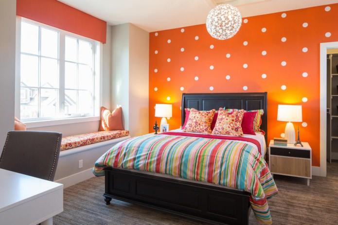 papier peint à pois orange