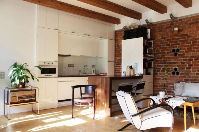 Petite cuisine-studio de style loft