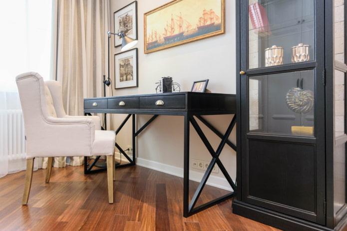 bureau pour écrire avec tiroirs à l'intérieur
