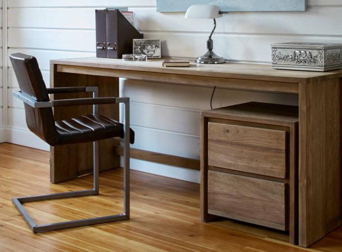 table pour écrire avec une table de chevet à l'intérieur