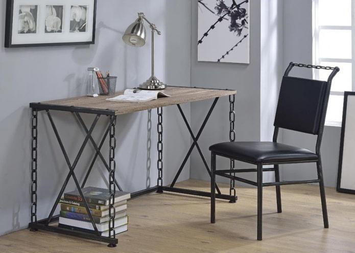 table forgée pour écrire à l'intérieur