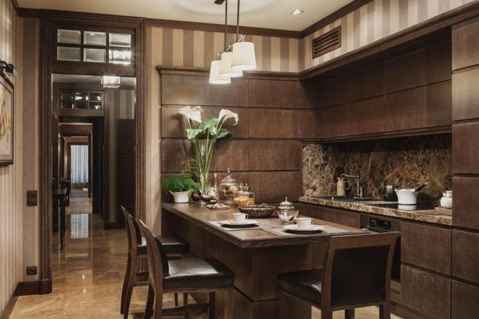 intérieur de cuisine dans des tons marron foncé