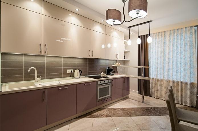 intérieur de cuisine dans les tons beige et marron