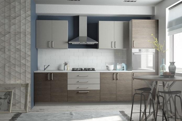 intérieur de cuisine dans des tons gris-brun