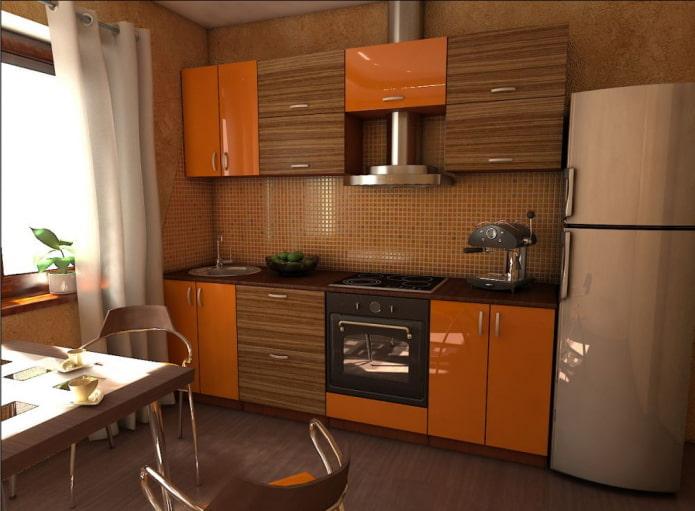 intérieur de cuisine marron avec des accents lumineux
