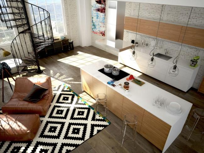 Contrastes noir et blanc dans un studio scandinave.  Le blanc brillant convient mieux aux zones à faible trafic