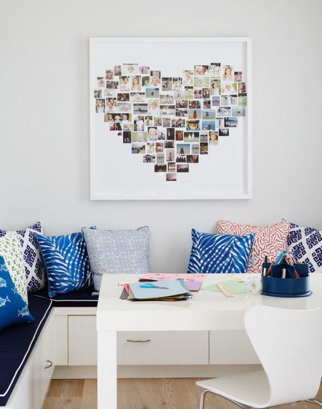 Un collage photo en forme de cœur encadré par un cadre carré blanc qui ne détourne pas l'attention du principal
