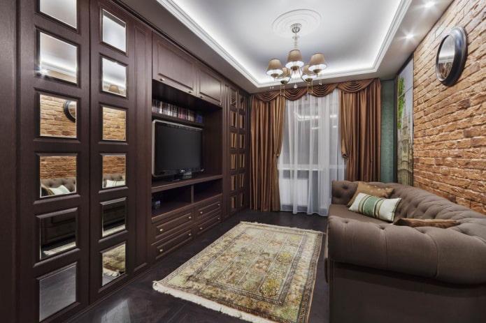 miroirs intégrés dans l'armoire à l'intérieur du hall