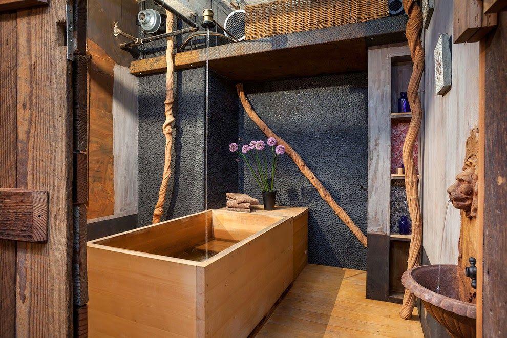 Les matériaux naturels rendent cette salle de bain vraiment luxueuse