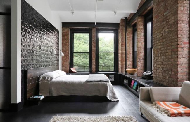 Jolie chambre de style loft
