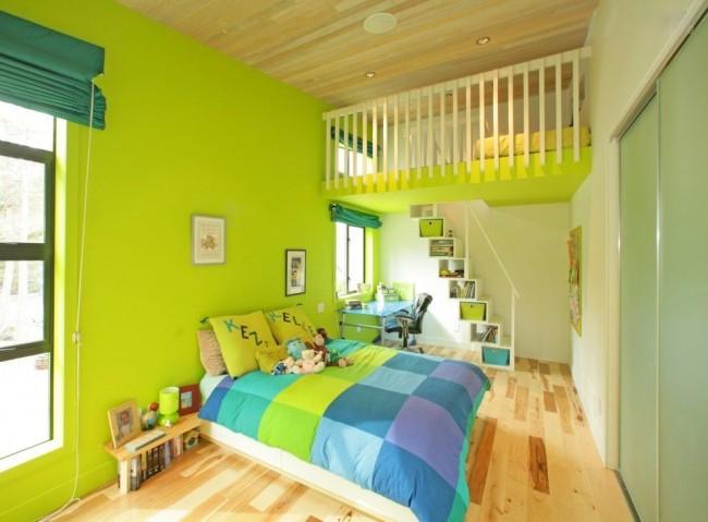 La couleur vert clair combinée à l'olive augmentera l'espace dans la pièce.