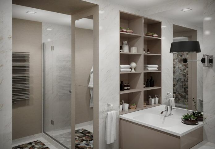 niche près du lavabo à l'intérieur de la salle de bain