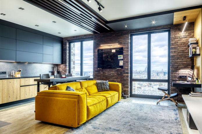 canapé lumineux dans le style loft