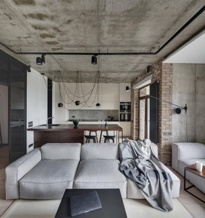 canapé de studio de style loft