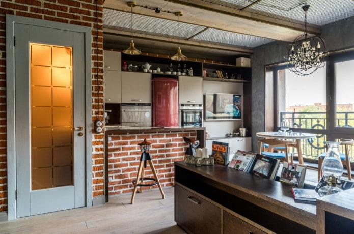 murs de briques dans l'appartement