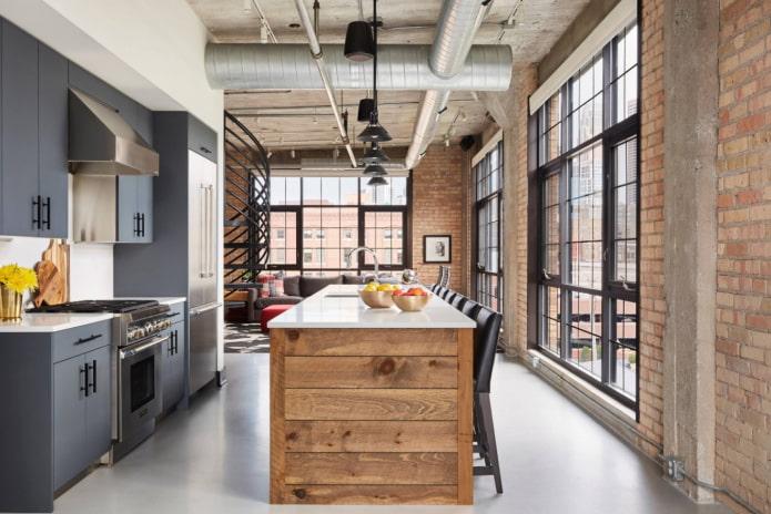 cuisine avec salon de style loft
