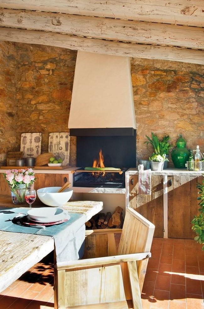 Cuisine confortable avec barbecue