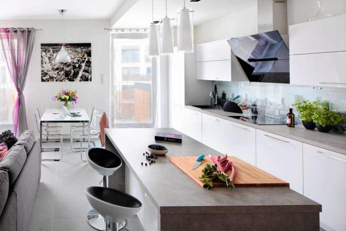 comptoir bar entre cuisine et salon