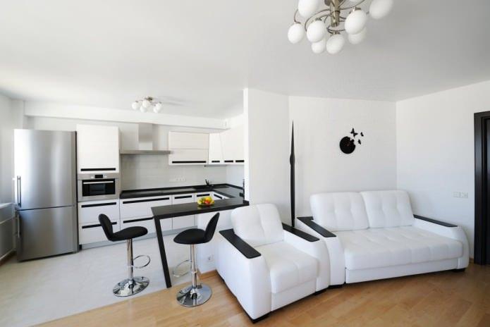 comptoir de bar dans la conception d'une cuisine-salon en noir et blanc