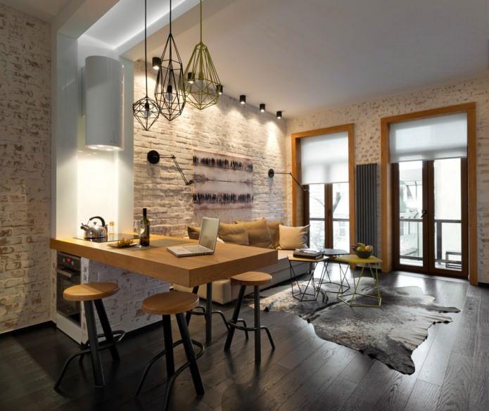 Aménagement cuisine-salon avec bar