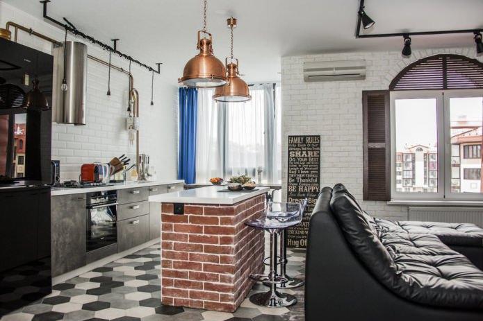 conception d'une cuisine-séjour avec un comptoir de bar avec une base en brique