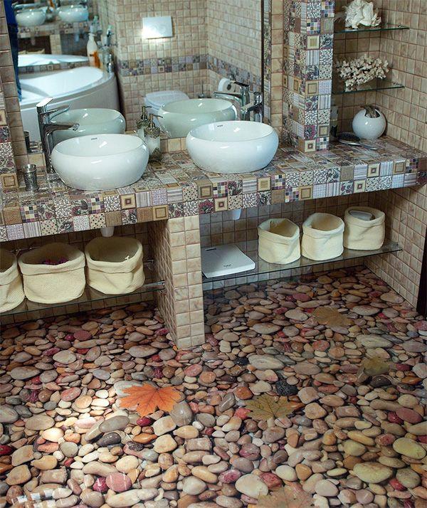 Belle salle de bain avec sol autonivelant