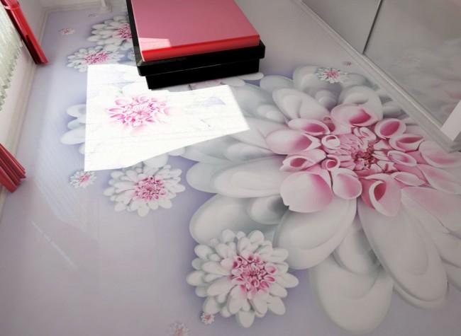 Le sol 3D avec une belle photo de fleurs ne cessera de plaire aux yeux