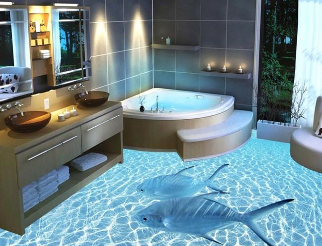 Salle de bain avec imitation des fonds marins