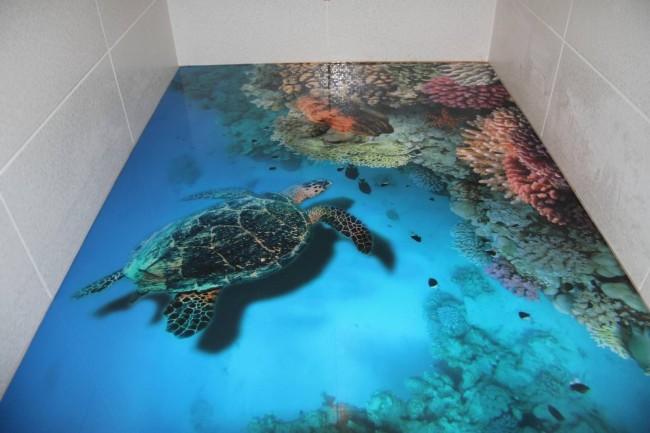 Plancher autonivelant avec une photo d'un récif de corail et d'une énorme tortue