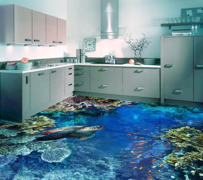 Une cuisine avec les fonds marins sous les pieds