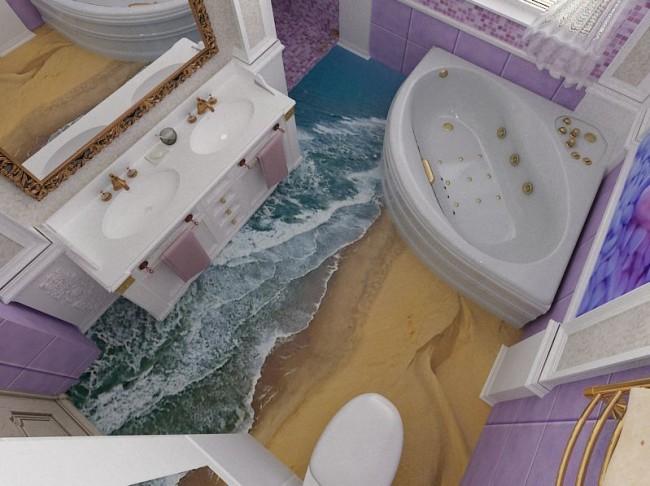 Plancher de salle de bain en planche de surf