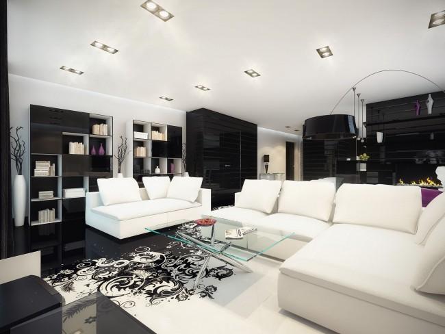Salon en noir et blanc avec sol 3D autonivelant