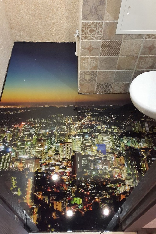 Sol 3D avec l'image de la ville de nuit
