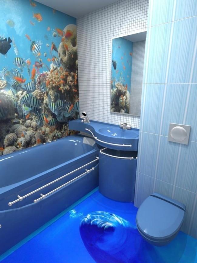 Sol autonivelant 3D dans la salle de bain avec l'image d'un dauphin sur fond d'abîme marin
