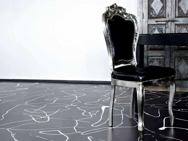 Beau sol autonivelant noir et blanc