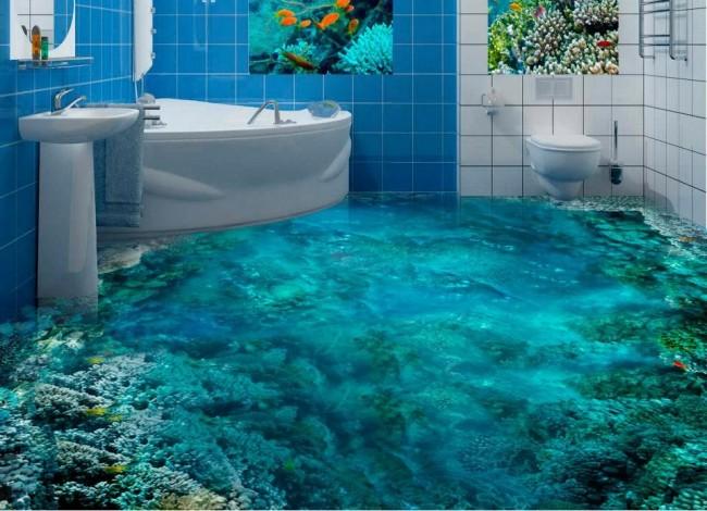 Le sol autonivelant avec l'image du fond marin est très impressionnant