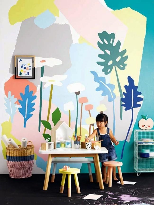 À l'aide de peintures murales, l'enfant sera toujours intéressé à être dans son petit monde.
