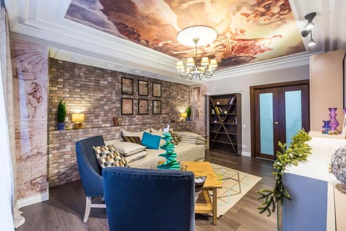 intérieur avec papier peint au plafond pour une fresque