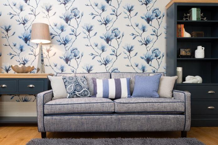 papier peint blanc avec des fleurs bleues