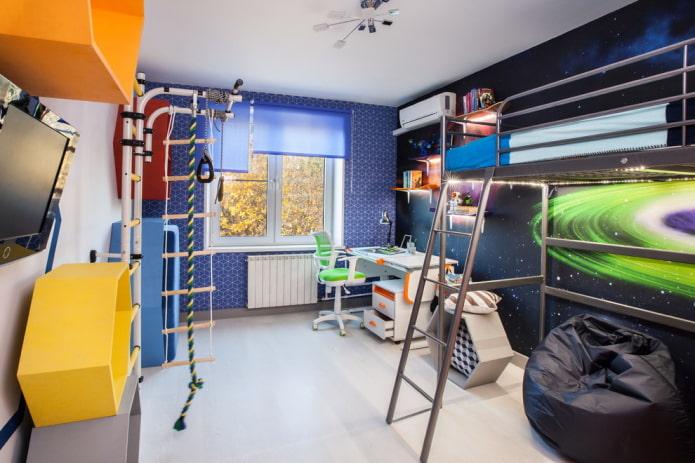 chambre d'enfant sur le thème de l'espace