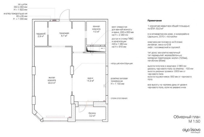 Plan de l'appartement avant rénovation