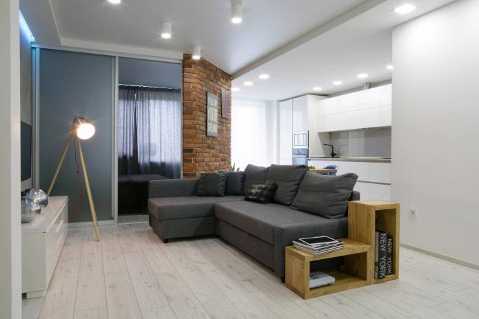 Appartement d'une chambre dans le style du minimalisme