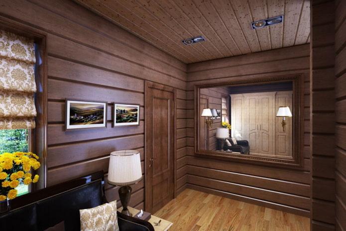 murs en bois à l'intérieur du couloir