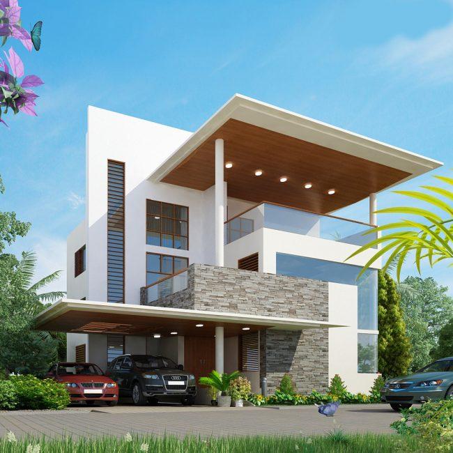 Projet d'une maison élégante à deux étages avec un grand balcon et un abri d'auto pour deux voitures