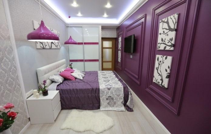 intérieur de chambre blanc et lilas