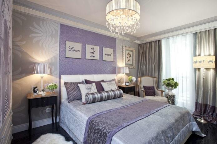 intérieur de chambre gris-lilas
